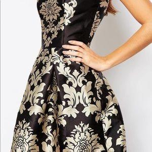 Chi Chi London Brocade Black/Gold Full Midi Skirt